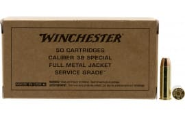 Winchester Ammo .38 Special 130 Grain FMJ Brown Box Service Grade - 50 Rds / Box - 500 Round Case