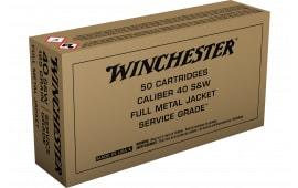 Winchester Ammo .40 S&W,165 Grain FMJ Brown Box Service Grade - 50 Rds / Box - 500 Round Case