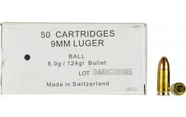 366841000 Swiss P 9mm Luger 8.0SX 41.7 - 50rd Box