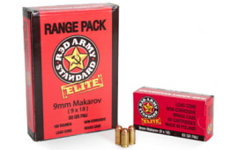 Red Army Standard Elite 9x18 Makarov 93 GR FMJ Brass Cased Ammo AM2017B - 150rd Range Pack