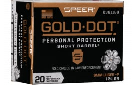 Speer 23611GD Gold Dot 9MM+P 124 HP SB - 20rd Box