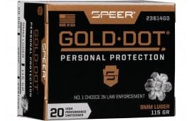 Speer 23614GD Gold Dot 9mm 115 HP - 20rd Box
