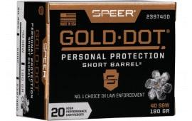 Speer 23974GD Gold Dot 40 S&W 180 HP SB - 20rd Box