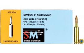 390640200 Swiss P 308 Winsubsonic 200 - 20rd Box