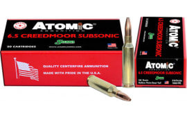 Atomic 00476 6.5 Creedmoor 130 HPBT Subsonic - 20rd Box