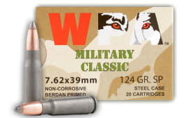 Wolf Military Classic 7.62x39 124gr Soft Point Ammo - 20rd Box