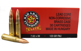 Red Army Standard Elite 7.62x39 123 GR FMJ, Brass, Boxer, Non Corrosive, Reloadable Ammo - 30rd Box