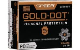 Speer 23602GD Gold Dot 25ACP 35 HP - 20rd Box