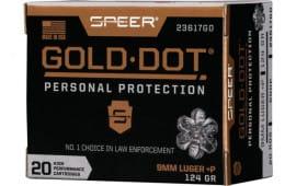 Speer 23617GD Gold Dot 9MM+P 124 HP - 20rd Box