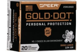 Speer 23618GD Gold Dot 9mm 124 HP - 20rd Box