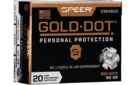 Speer 23606GD Gold DOT 380 ACP 90 HP - 20rd Box