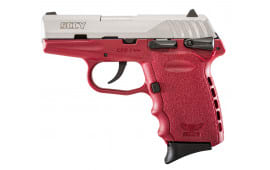 "SCCY CPX1TTCR CPX-1 Double 9mm 3.1"" 10+1 Crimson Polymer Grip/Frame Grip Stainless Steel"