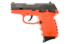 "SCCY CPX1CBOR CPX-1 Double 9mm 3.1"" 10+1 Orange Polymer Grip/Frame Grip Black Nitride Stainless Steel"