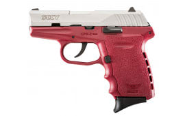 """SCCY CPX2TTCR CPX-2 Double 9mm 3.1"""" 10+1 Crimson Polymer Grip/Frame Grip Stainless Steel"""