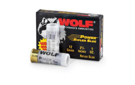 "Wolf Rifled Slugs, 12 Gauge, 2-3/4"", 1 Ounce Rifled Slug - 1400 FPS - 100 Per Case"