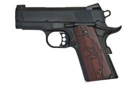 "Colt O7800XE 1911 Defender Single 45 ACP 3"" 7+1 Black Cherry G10 Grip Blued Carbon Steel"
