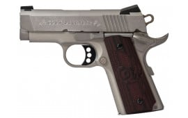 "Colt O7000XE 1911 Defender Single 45 ACP 3"" 7+1 Black Cherry G10 Grip Stainless"