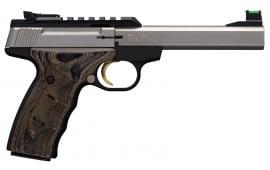 "Browning 051532490 Buck Mark Plus UDX Single 22 LR 5.5"" 10+1 Brown Wood Laminate/UDX Grip Blued Aluminum"