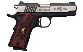 "Browning 051915492 1911-380 Single 380 ACP 3.62"" 8+1 Rosewood w/Gold Buckmark Inlay Grip Black Stainless Steel"