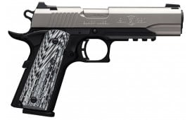 "Browning 051927492 1911 Single 380 ACP 4.25"" 8+1 Black/White G-10 Grip Stainless Steel"