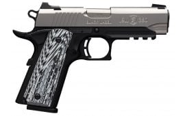 "Browning 051929492 1911 Single 380 ACP 4.25"" 8+1 Black/White G-10 Grip Stainless Steel"