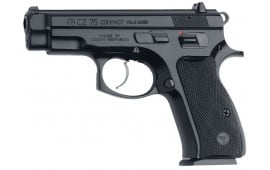 "CZ 01190 CZ-75 Compact DA/SA 9mm 3.8"" 10+1 Black Poly Grip Black Finish"