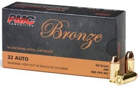 PMC 32B Bronze 32 ACP Jacketed Hollow Point 60 GR - 50 Rounds / Box - 1000 Round Case