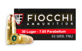 Fiocchi .30 Luger 93 GR Full Metal Jacket (FMJ) Ammo - 50rd Box