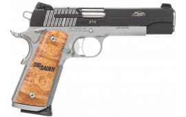 "Sig Sauer 191145STX 1911Traditional 45 ACP 5"" 8+1 Burled Maple Grip SS/Black Finish"