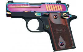 "Sig Sauer 238380RBT P238 Rainbow Single 380 ACP 2.7"" 6+1 NS Rosewood Grip Black Frame Rainbow Titanium PVD"