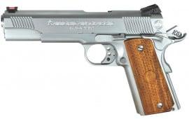 "American Classic ACT45C 1911 Trophy SAO 45 ACP 5"" 8+1 Hardwood w/Mac Logo Grip Hard Chrome"