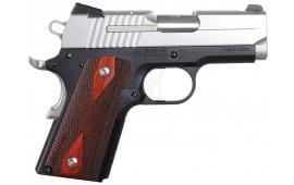 "Sig 1911U45TSS 1911 Ultra Compact Two Tone 45 ACP 3.3"" 7+1 NS Rosewood Grip Black Nitron Frame SS Slide"
