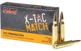 PMC 223XM X-Tac .223 Remington 77 OTM Match Grade Ammunition - Loaded with Sierra Open Tip Match Kings - 20 Round Box