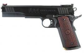 "MAC M19BE45B 1911 Bullseye Single 45 ACP 6"" 8+1 Hardwood w/Logo Blued"
