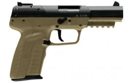 "FN 3868929352 Five-seveN Single 5.7mmX28mm 4.8"" 10+1 3 Mags FDE Poly Grip"