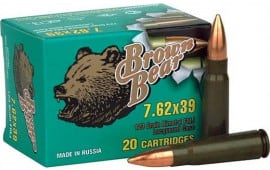 Barnaul Brown Bear 762X39, FMJ,123 Grain, Non-Corrosive -   20 Round Box Mfg # AB762FMJ