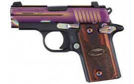 "Sig Sauer 238M380RBT P238 Rainbow *MA Compliant* Single 380 ACP 2.7"" 6+1 NS Rosewood Grip Black Frame Rainbow Titanium PVD Stainless Steel"