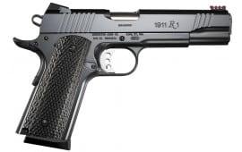 "Remington 96359 1911 R1 Enhanced Commander SAO 45 ACP 4.25"" 8+1 FOF Dark Laminate Wood Grip Black"