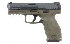 """HK 700009GRLEA5 VP9 Double 9mm Luger 4.09"""" 15+1 3 Mags NS OD Green Interchangeable Backstrap Grip Black"""