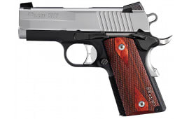 "Sig Sauer 1911UT9TSS 1911 Ultra Compact Two-Tone Single 9mm 3.3"" 7+1 NS Rosewood Grip Black Hard Coat Anodized Frame SS"