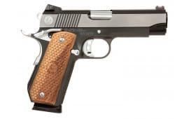 """MAC M19BC45BC 1911 Bobcut SAO 45 ACP 4.25"""" 8+1 Hardwood w/Logo Black Chrome"""