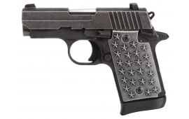 "Sig Sauer 9389WTP P938 We The People Single 9mm Luger 3"" 7+1 CS Distressed Aluminum Grip Black Hard Coat Anodized Frame Distressed Stainless Steel"