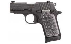 "Sig Sauer 238380WTP P238 We The People Single 380 ACP 2.7"" 7+1 CS Distressed Aluminum Grip Black Hard Coat Anodized Frame Distressed Stainless Steel"