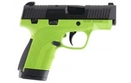 "Honor Defense HG9SCMSAG Honor Guard Sub-Compact Double 9mm Luger MS 3.2"" 7+1/8+1 Acid Green Interchangeable Backstrap Grip Black Stainless Steel"