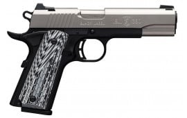 "Browning 051924492 1911-380 Black Label Pro Compact Single 380 ACP FO 3.62"" 8+1 Black G10 Grip Stainless Steel"