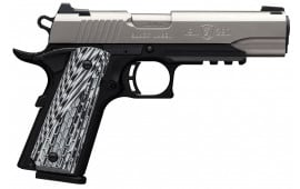 """Browning 051923492 1911-380 Black Label Pro with Rail Single 380 ACP FO 4.25"""" 8+1 Black G10 Grip Stainless Steel"""