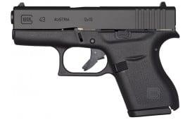 "Glock UI4350201 G43 Subcompact Double 9mm Luger 3.39"" 6+1 Black Polymer Grip/Frame Grip Black"