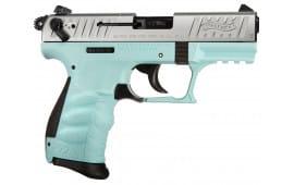 "Walther Arms 5120362 P22 *CA Compliant* DA/SA 22 LR 3.4"" 10+1 Angel Blue Polymer Grip/Frame Grip Black"
