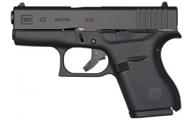 "Glock UI4350201 G43 Subcompact Double 9mm Luger 3.39"" 6+1 Black Polymer Grip/Frame Grip Black"