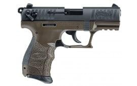 "Walther Arms 5120515 P22 QD DA/SA 22 LR 3.42"" 10+1 Black Interchangeable Backstrap Grip OD Green Polymer Frame"